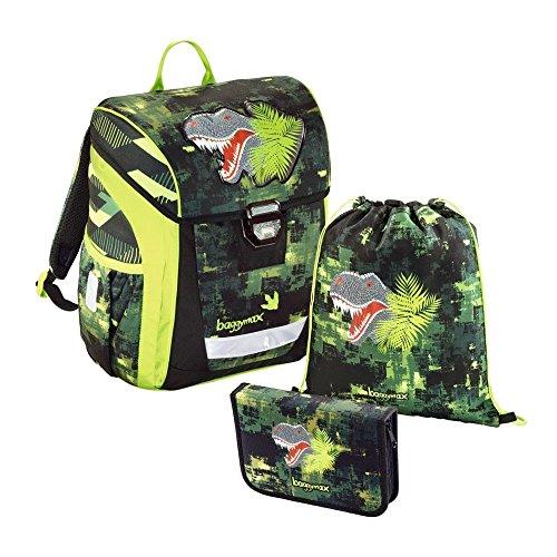 baggymax Schulranzen-Set Trikky 3-tlg. Green Dino bm green dino