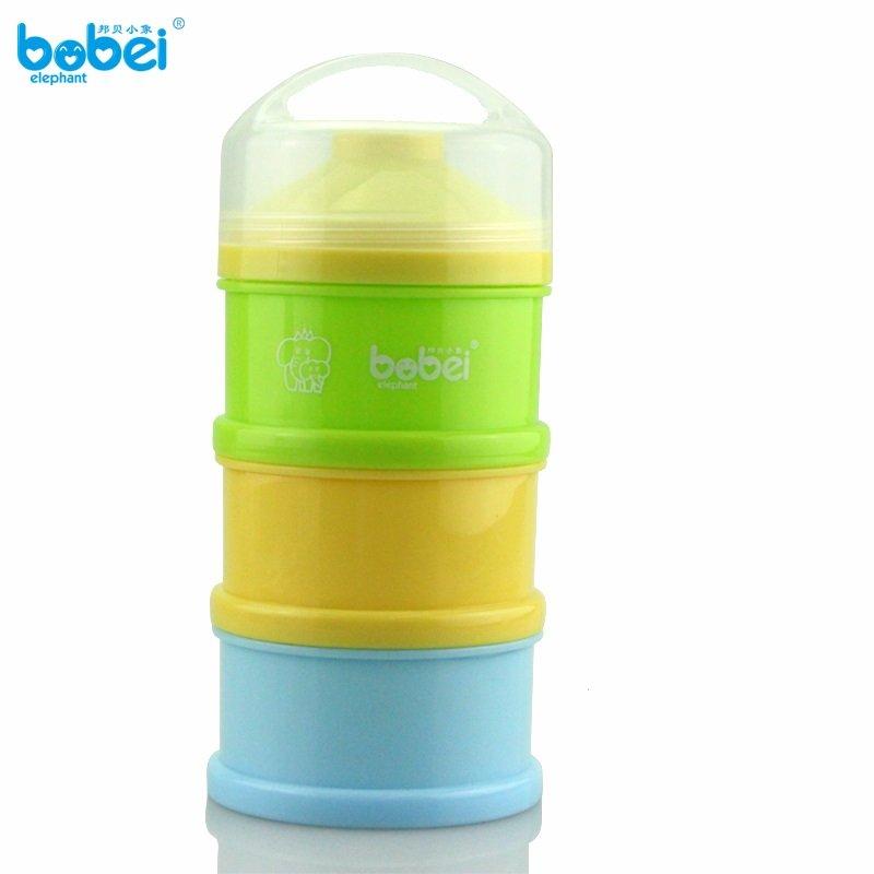 邦贝小象 新生婴儿便携式奶粉盒 儿童宝宝PP塑料三层大容量独立分装奶粉盒子零食储存盒子 (黄绿蓝)