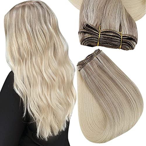 Easyouth Extensions de Tissage Remy Hair Weave Couleur Blonde Cendrée Mixte Blond Clair Et Blond Platine Bundles Unprocessed Human Hair Extensions 12pouce 70g