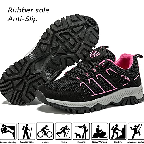 Lvptsh Zapatillas de Trekking para Mujer Transpirable Zapatillas de Senderismo Calzado de Trekking AL Aire Libre Antideslizantes Botas de Montaña,Rosa-1,EU39
