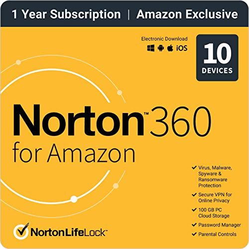 Norton 360 for Amazon – Antivirus software for up to 10 Devices with Auto Renewal [1-Year Subscription]