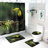 Yuzhijie Nordic Shower Curtain Flamingo Parrot Printing Shower Curtain Carpet Combination Bathroom Mat Set, B 4 Piece Sets