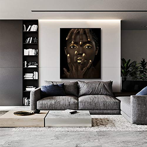 NIMCG Mujer Africana Negra Pintura al óleo sobre Lienzo póster e Impresiones Imagen de Arte de Pared escandinava para Sala de Estar (sin Marco) R2 60x90 cm