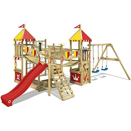 WICKEY Speeltoestel voor tuin Smart Queen met schommel en rode glijbaan, Houten speeltuig, Speeltoren voor buiten met zandbak en klimladder voor kinderen