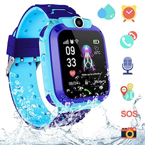 Smartwatch Niños IP67 Impermeable - AGPS LBS Tracker Localizador Reloj Inteligente Niños, Smartwatch Niña con Cámara SOS Chat de Voz Juego Alarma, Reloj Inteligente Niña Compatible con iOS Android