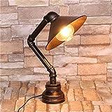 BXU-BG Lámpara de mesa de tubo Oficina de escritorio Lámpara Estudio Loft retro Steampunk iluminación de una sola cabeza DIY antigua forjado Bronce Hierro Agua