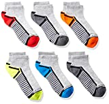 Fruit of the Loom Boys' 6-Pair Half Cushion Ankle Socks, gray assort, Large (Shoe Size: 3-9)