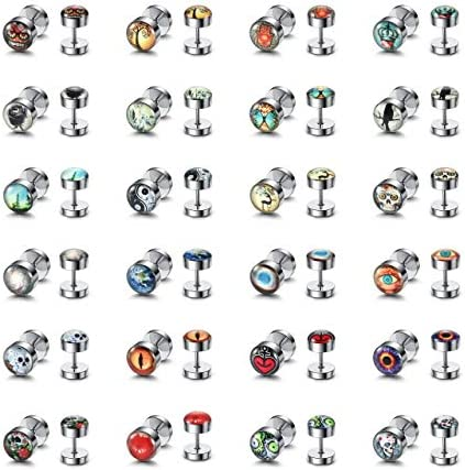 PiercingJ 24 Pairs Faux Gauges Earrings Satinless Steel Cheater Fake Ear Plugs Gauges Illusion product image