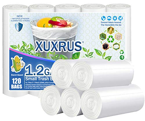 XUXRUS 5Liter Small Trash Bin Bags Biodegradable 1.2 Gallon Garbage Bags Wastebasket Liners for Home Office, Lawn,Bathroom,120 Count,White (Fits 0.8-1.5 Gallon Bins)