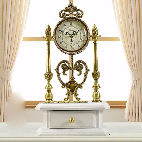 NIDAYE CNBBGJ Style Pastoral Continental King Size en Bois cuivre Antique réveil réveil en sourdine des Ornements Maison de Ville créative Table,a