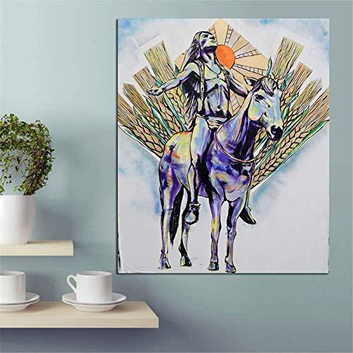 nr Indiase man olieverfschilderij op doek wandafbeeldingen voor de woonkamer kunstdruk op canvas -50x70cm frameloos