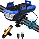 AMANKA Luz Bicicleta Recargable USB, 550LM Linterna Bicicleta con Soporte para Teléfono, Campana y Luz Trasera Bicicleta, Luz LED Bicicleta para Ciclismo de Montaña y Carretera