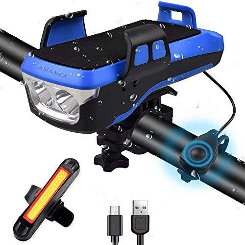 AMANKA Ensemble d'éclairage de vélo, Lumière de Vélo de 550 Lumens USB Rechargeable, Eclairage Avant avec klaxon et Support pour téléphone Portable, IPX7 étanche pour Le Cyclisme en Montagne
