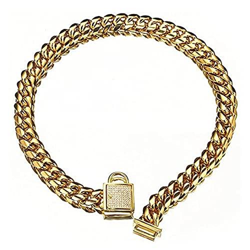 TDHCX Collar de Cadena de Perro Dorado de 16 mm de Ancho Collar de Cachorro de eslabones cubanos de Acero Inoxidable Resistente a Prueba de masticación para Perros pequeños American Pitbull