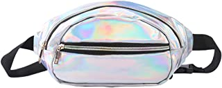 JIGSEAME Hologram Fanny Pack for Women Men Waist bag with 3 Pockets -Waterproof Waist Belt Fit for Hiking,Travel,Ravel,Party and Shopping. (Holographic - Silver)
