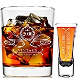2000 21st Birthday Gifts For Men & Women 9 oz Whiskey Glass and 2 oz Shot Glass, 21st Birthday Decorations for Men, Funny Present Ideas for Her, Wife, Mom, Coworker, Best Friend, Anniversary Man Guys