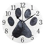 AABAO Reloj de pared redondo con impresión de huellas de perro, silencioso, pintura al óleo para dormitorio, sala de estar, oficina, escuela, decoración del hogar