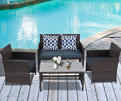BPTD 4 Pieces Outdoor Patio Furniture Sets All Weather Wicker Chairs Set with Coffee Table and Chair Set for Backyard Porch Poolside Patio Seating Set (Dark Blue)