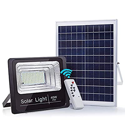 40W Solar Powered LED Flood Lights, 79 LEDs Outdoor Solar Light Security Lighting, Dusk to Dawn Photocell Sensor with Remote Control, 2500LM, IP65 Waterproof for Yard, Garden, Pool, Pathway