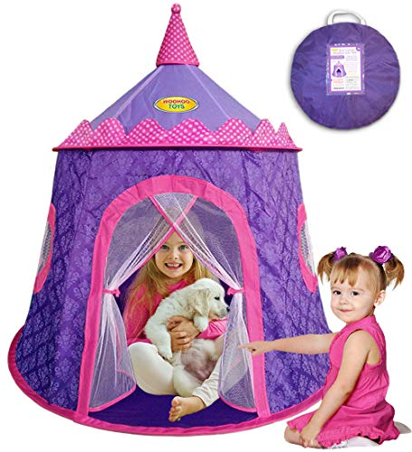 WOOHOO TOYS Gorgeous Princess Castle Play Tent for Girls – Great Children Playhouse for Indoor & Outdoor with Elegant Motif on Thick Durable Fabric for Kids to Enjoy Hours of Pretend Playing
