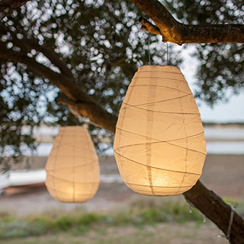 Lights4fun 10er Set LED Papier Lampions Cremefarben batteriebetrieben