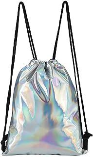 1 unid personalidad brillante cordón láser mochila de las mujeres con cordón bolsa de moda de las mujeres mochila escuela ...