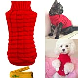 Wiz BBQT Knitted Braid Plait Turtleneck Sweater Knitwear Outwear for Dogs & Cats (Red, S)