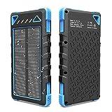 Créatic Portable Solar Charger 10000mAh, Outdoor Power Bank, Dual USB Ports, Flashlight, Compact External Battery, Resistant, Weatherproof (Black+Blue)