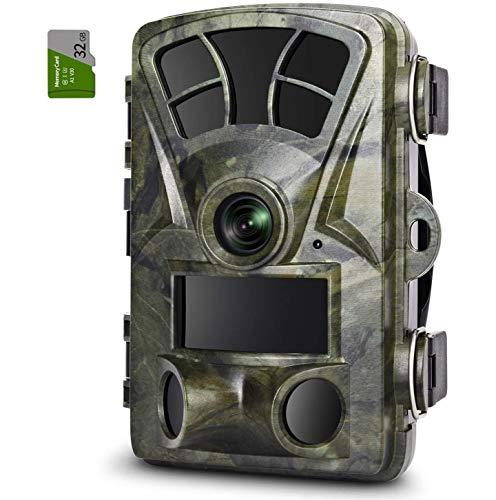 FYLD Wildkamera, IP66 16MP 1080P HD Wildkamera mit Bewegungsmelder Nachtsicht, Wildtierkamera mit 940 nm IR-LED für Tierbeobachtung und Heimüberwachung Inklusive 32G Speicherkarte