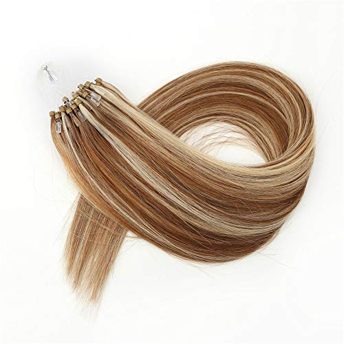 Kun Na Remy Loop Micro Rings Hair Silky Straight Micro Ring Human Hair Extensions 1g/Strand ,50g Real Virgin Loop Hair For Woman (18inch, #P8/613)