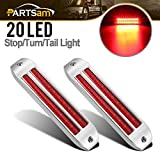 Partsam 2Pcs 8 1/4 Inch Led Trailer Tail Light Bar Red 20 LED Chrome Flush Mount Stop Turn Tail Light Bar, Dual 10 LED 6 1/2 Inch Turn Signal Light Bars Strips 12V