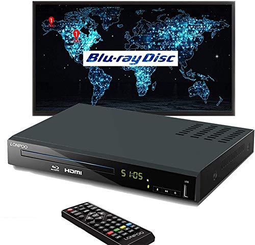 Lettore Blu-Ray Full HD, lettore di dischi HD con cavi AV HDMI, lettore DVD Home Theater CD Sistema PAL NTSC integrato con ingresso USB HDMI AV, Multi-regione