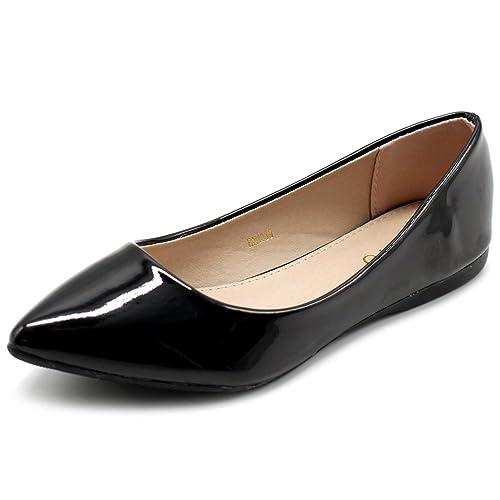 9640be73327 Ollio Women s Shoe Ballet Basic Pointed Toe Comfort Enamel Flat