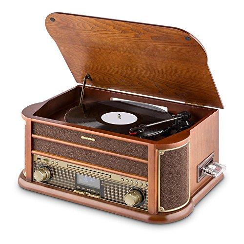 AUNA Belle Epoque 1908 - Tourne-Disque rétro, Radio numérique, Chaîne stéréo, Dab+, Platine Vinyle, Bluetooth, Lecture MP3, Lecteur CD, Fonction RDS - Marron