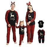 Rehomy Christmas Family - Conjunto de Pijamas a Juego clásico a Cuadros, Pantalones o Mameluco de bebé, Ropa de Dormir de Navidad, para bebés, niños, Adultos, Mascotas (Mascotas, L)