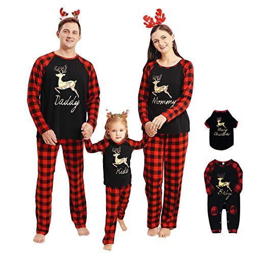 Rehomy Conjunto de pijamas de Navidad a juego para familias, pantalones de camisa de manga larga o mameluco de bebé, ropa de dormir de Navidad para bebés adultos mascotas