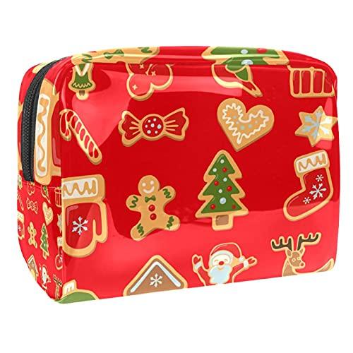 Trousse de Maquillage Voyage Maquillage Case Cosmetic Case Professional Portable Homme en Pain d'épice de Noël Organisateur et Rangement pour Porte-pinceaux de Maquillage