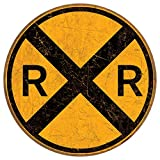 Desperate Enterprises Railroad Crossing Tin Sign,...