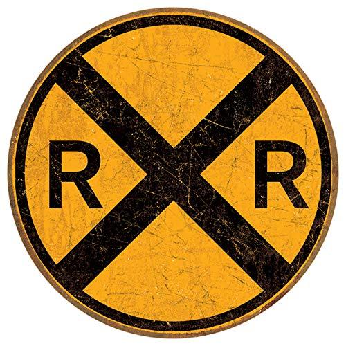 Desperate Enterprises Railroad Crossing Tin Sign, 11.75 Diameter