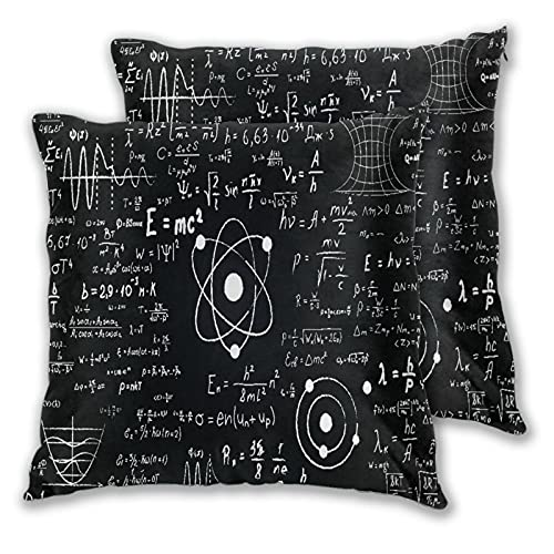 NINEHASA Bed Pillow Case for Sleeping Set of 2,Calculation Math Blackboard Inscribed Scientific Formulas Calculations Teacher Physics Science,with Zipper Closure Pillow Sham 20X20 Inch