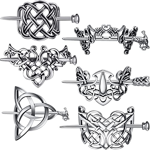 6 Pieces Viking Celtic Hair Clips Metal Hair Slide Clip with Stick Hair Hairpins Hair Accessories Clips Hair Pins for Women and Girls