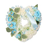 Rehobo Artificial Silk Funeral Flower Arrangements|Heart Shaped Tribute Memorial Wreath| Coffin Grave Garland Faux Flower Butterfly with Ribbon |Tribute Gran, Nan Dad,Mum,Friend (Blue)