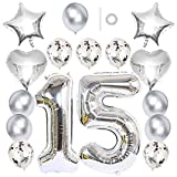 "Ceqiny 40' 15th Number Balloon Mylar Balloon 18"" Star Heart Foil Balloon 12"" Sequins Latex Balloon for Birthday Party Wedding Bridal Shower Photo Shoot Anniversary Decor, Silver 15 Balloon Kit"
