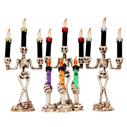 Uonlytech Halloween Skeleton Flameless Candle Skull Candle Holder Light Halloween Skull Candles for...