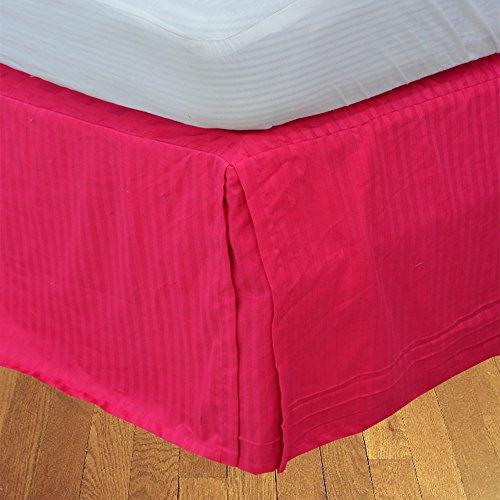 BudgetLinen 1pcs Box Jupe plissée de lit(Rose Vif A_Rayures,Petite Chambre Double (4 pi x 6 pi 3\