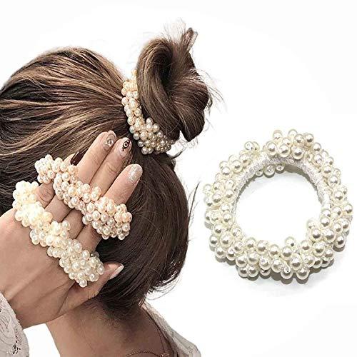 Nicute Coleteros de pelo de perlas rosas, con gomas para el pelo, accesorios para mujeres y niñas