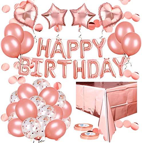 YisPRIN (51 en 1), decoración de cumpleaños en oro rosa, guirnalda Happy Birthday Decorations Balloon, globos de confeti, decoración de mesa para niñas