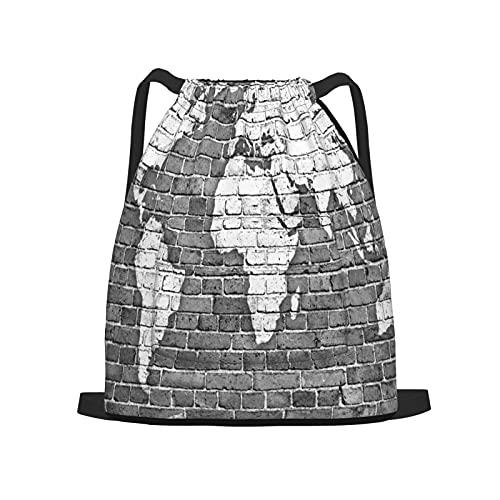 Zaino sportivo con coulisse,Mappa del mondo sul vecchio muro di mattoni, Zaino da palestra per borsa a tracolla da campeggio da viaggio per uomo, donna, bambino.