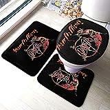 Aubrdon Slayer Show No Mercy Badteppich Matten Set 3 Stück Anti-Rutsch-Pads Badematte + Contour + Toilettendeckel Abdeckung