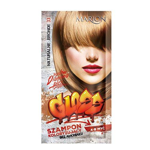 Marion - Champú de color brillante para el cabello en bolsitas de 4 a 8 lavados de amoníaco FREE 33 rubio natural